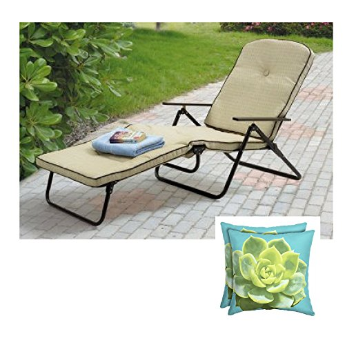 Dune Outdoor Fabric - Mainstays* Sand Dune Outdoor Padded Folding Chaise Lounge, Tan w/2 Sets of Toss Pillow