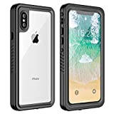 iPhone X/XS Waterproof Case, ATOP Protective Clear Cover with Built-in Screen Protector, Support Wireless Charging IP68 Certified Waterproof Dustproof Shockproof Case for iPhone X/XS 5.8 inch