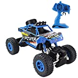 Fisca RC Rock Crawler Car 2.4G 4WD Off- Road Vehicle 1:18 Powerful Wireless Remote Control High Speed Dune Buggy Monster Truck Electric Hobby Race Car with Rechargeable Battery Blue