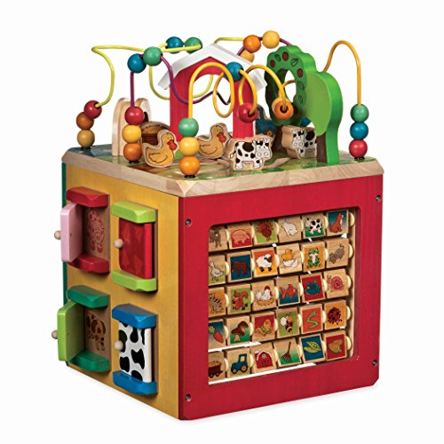 Activity Pack - Battat - Wooden Activity Cube - Discover Farm Animals Activity Center for Kids 1 year +