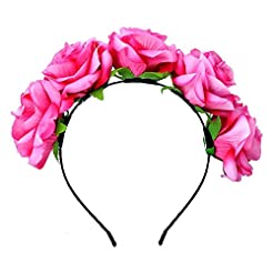 DreamLily Rose Flower Crown Wedding Fest...