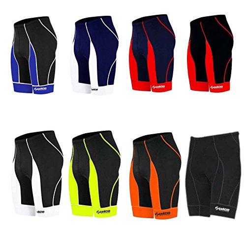 (Zimco Men Pro Cycling Shorts Bike Knicks Bicycle Short Coolmax Padded 143 (Black/Orange, Medium))