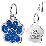 Didog Large Glitter Paw Print Custom Pet ID Tags for Medium Large Dogs and Cats - Personalized Egraving - Blue