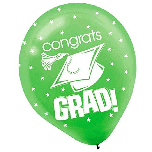 "Amscan Congrats Grad Graduation Party Balloon (Pack of 15), Multicolor, 12"""
