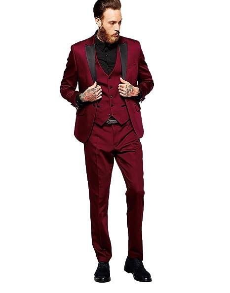 Amazon.com: Rey y aires para hombre Borgoña Slim Fit traje 3 ...