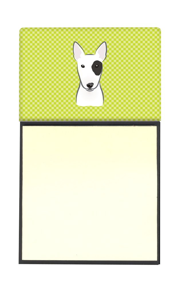 Carolines Treasures Checkerboard Lime Green Bull Terrier Refillable Sticky Note Holder or Postit Note Dispenser Multicolor 3.25 by 5.5
