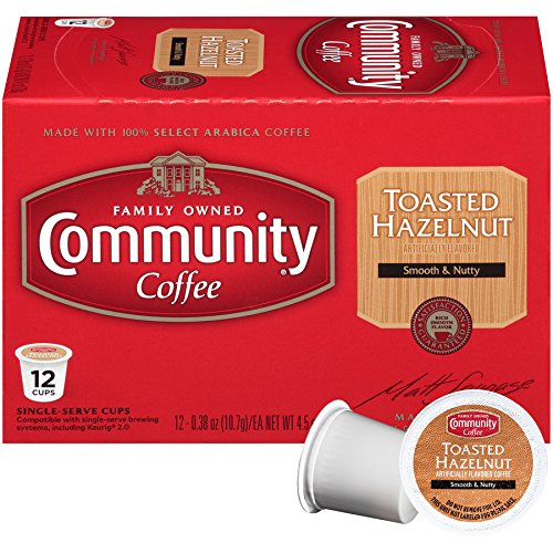 Community Coffee Toasted Hazelnut Coffee Pods for Keurig Brewers – 12 Count