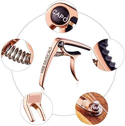 HRB-MUSICALS-Guitar-Capo-With-Bridge-Pin-Remover-with-5-guitar-picks-for-Acoustic-Guitar-Electric-Guitar-Ukulele-Rose-gold
