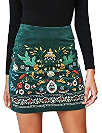 Women's High Waist Embroidered Mini Skirt Boho Floral Pencil Skirt