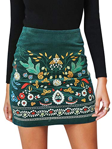 Heels Embroidered - BerryGo Women's High Waist Embroidered Mini Skirt Boho Floral Pencil Skirt Dark Green,XL