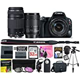 Canon EOS Rebel SL2 24.2 MP DSLR Camera (Wi-Fi) Body, Canon EF-S 18-135mm 3.5-5.6 IS USM Lens, Canon EF 75-300mm 4-5.6 III Lens with Deluxe Camera Works Accessory Bundle & 32GB High-Speed Memory Card