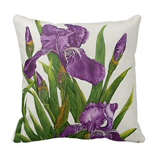 Miss Gaga Beautiful Purple Iris Botanical Pillow Case