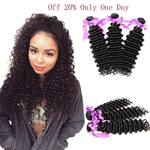 Dream Like Deep Wave 3 Bundles (16 18 20) 8A Grade 100% Unprocessed Virgin Brazilian Human Hair Extension Deep Wave Bundles Natural Color Can Be Dyed and Bleached from Dream Like