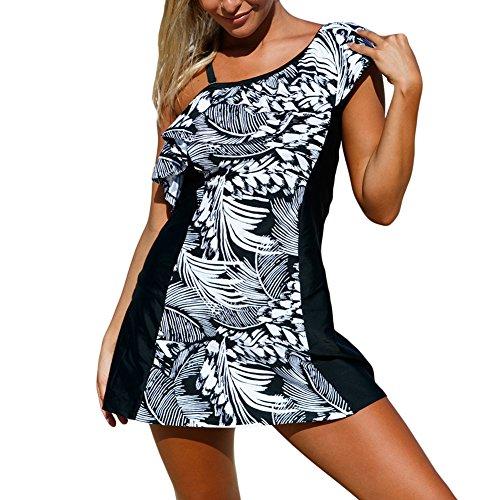 iBaste Playa Vestido Hombro Aprovechar Flounced Impresiones Trajes de Baño Bañadores Una Pieza para Mujer