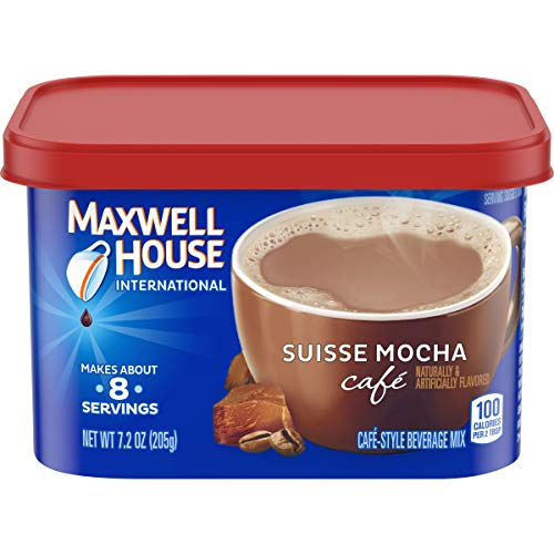 Maxwell House International Suisse Mocha Cafe Beverage Mix, Caffeinated, 7.2 oz Can (Pack of 4)
