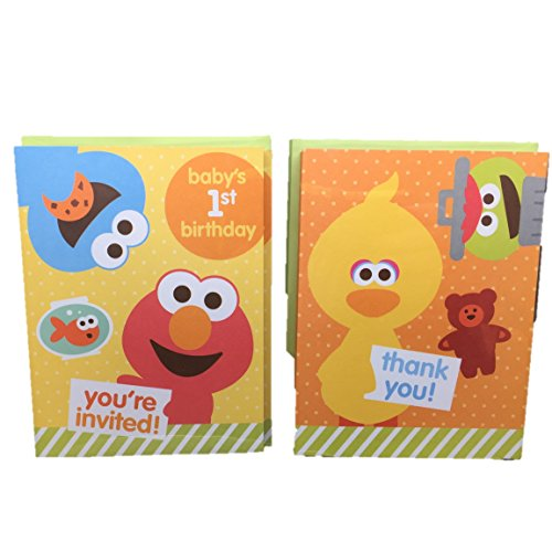 Sesame Street Babys First Birthday Invitations and Thank You Cards - 10 Each (Baby Sesame Street Party Supplies)
