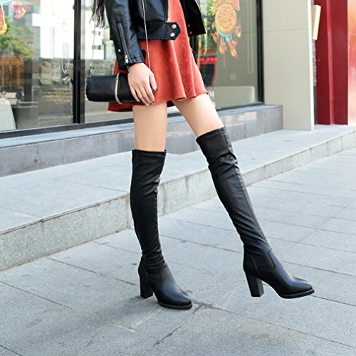 Stretch Black Elastic Knee Black Heel Women Boots Fashion Shoes Leather Over Women 39 Toe Thick Boots n6qxwU4zc1