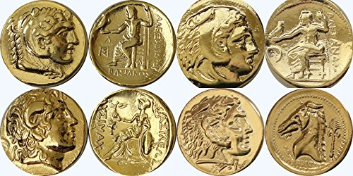 Greek Mythology 4 Coins of Alexander the Great Alex1, 7, 34, 46 -4ALEXG (Great Tetradrachm Silver Coin)