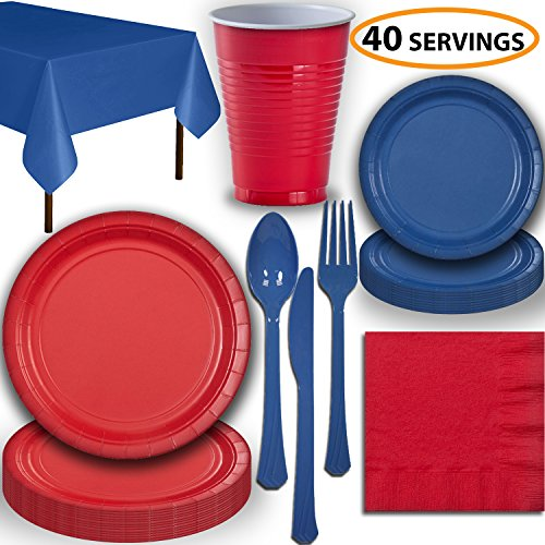 - Disposable Party Supplies, Serves 40 - Red and Blue - Large and Small Paper Plates, 12 oz Plastic Cups, Heavyweight Cutlery, Napkins, and Tablecloths. Full Two-Tone Tableware Set