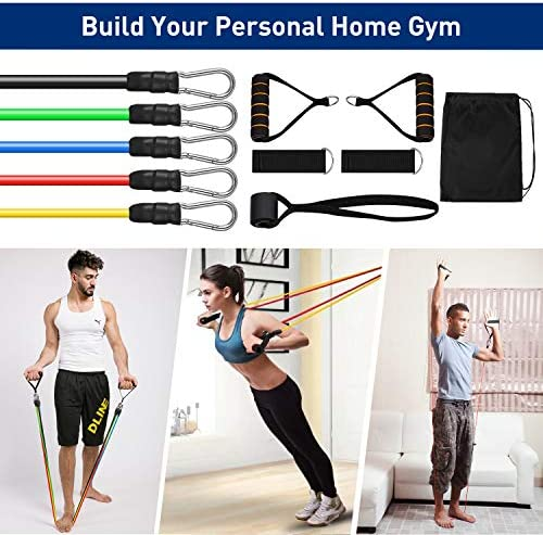 KUYOU Resistance Bands Set 2020 New 11 Pcs Exercise Workout Bands with Handles for Women Men, 5 Resistance Loop Bands Set with Door Anchor, Carry Bag for Fitness Training Workout Yoga Pilate Stretch 6