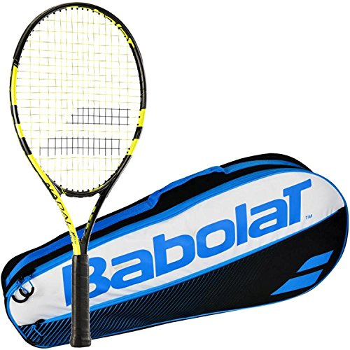 Babolat Nadal Junior 26 Inch Black/Yellow Tennis Racquet (2015 Version) Bundled with a Blue Club Three Pack Tennis Bag (Junior Tennis Player)