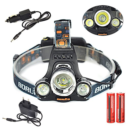 Titop 18650 Lanterns Set 8000 Lumens 3x XML T6 LED Headlight Package Linternas Frontales Cabeza Headlamp+ac/car Charger+2x18650 Rechargeable Battery Include Battery