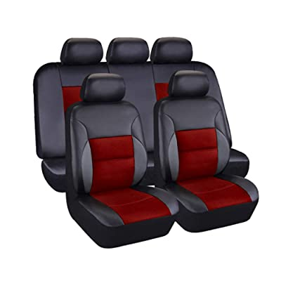 AUTO HIGH 11-Pieces Car Seat Covers Full Set - Premium Faux Leather Automotive Front and Back Seat Protectors - Fits Most Car Truck Van SUV, Black & Red: Automotive