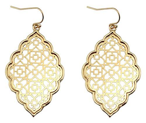 StylesILove Womens Trendy Two-Tone Cut Off Filigree Quatrefoil Long Chain Pendant Necklace Dangle Earring (Metal Gold - - Pendant Filigree Gold