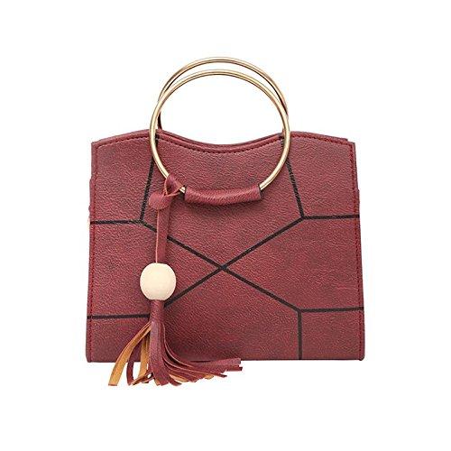 Sprnb Nueva Moda Hombro Pegado Xiekua Paquete Todo-Match Handbag,Negro Claret