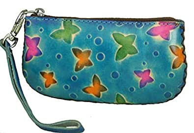 Genuine Leather Credit/Id Cards Holder, change Purse, 5.5 X 2.5 Inches, wrist Strap, different Pattern (Blue)