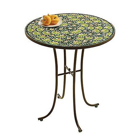 Flower Mosaic 14-Inch All Weather Side Table in (Mosaic Side Table)