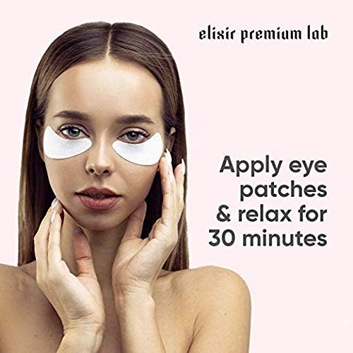 Collagen Eye Patches - Moisturizing Under Eye Pads - Anti Puffines & Dark Circles Spa Treatment - Best Hydrogel Eye Moisturizer for Women & Men - Gel Patch for Dry Skin Under Eye Zone (6 Pack) by Elixir Premium Lab (Image #7)