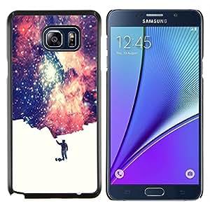 LECELL--Funda protectora / Cubierta / Piel For Samsung Galaxy Note 5 5th N9200 -- Universo Pequeño Hombre simbólico Espacio de Arte Estrellas --