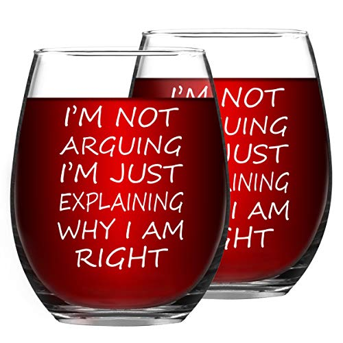 I'm not arguing i'm just explaining why I'm right Funny Stemless Wine Glass for Red and White Wine, Inspirational Birthday Gifts for Friends Coworkers Dad and Mom, 15 Oz, Set of 2