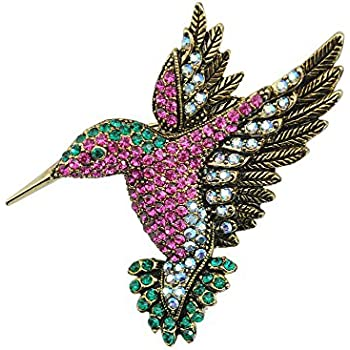 Good TTjewelry Beautiful Multi Color Hummingbird Rhinestone Crystal Bird Brooch  Pin Gold Tone