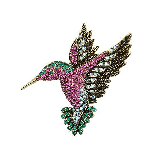 TTjewelry Beautiful Multi-color Hummingbird Rhinestone Crystal Bird Brooch Pin Gold (Hummingbird Bird Pin)