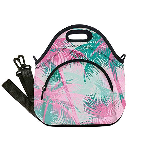 Insulated Lunch Bag,Neoprene Lunch Tote Bags,Palm Leaf,Beach Party Theme Vibrant Composition with Pink and Green Trees Vintage Decorative,Pink Teal White,for Adults and children -