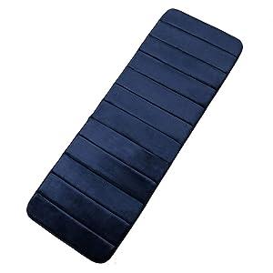 "Memory Foam Soft Bath Mats - Non Slip Absorbent Bathroom Rugs Rubber Back Runner Mat for Kitchen Bathroom Floors 16""x47"", Navy Blue"