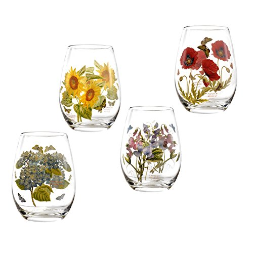 Portmeirion Botanic Garden Set of 4 Stemless Wine Glasses