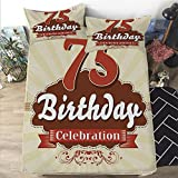Egg Shell Foam Mattress Mattress Cover King size 3D Printed Decorative Quilted 1 Piece Coverlet Set with 2 Pillows,75th Birthday Decorations,Retro Style Celebration Banner and Number,Scarlet Brown Eggshell,12