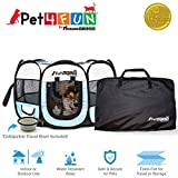 """PET4FUN¨ PN935 35"""" Portable Pet Puppy Dog Cat Animal Playpen Yard Crates Kennel w/ Premium 600D Oxford Cloth, Tool-Free Setup, Carry Bag, Removable Security Mesh Cover/Shade, 2 Storage Pockets (BLUE)"""