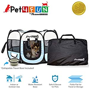 PicassoTiles PET4FUN Portable Pet Puppy Dog Cat Animal Playpen Yard Crates Kennel w/Premium 600D Oxford Cloth, Tool-Free Setup, Carry Bag, Removable Security Mesh Cover/Shade, 2 Storage Pockets 49