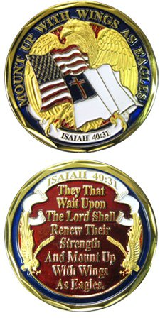 Wings As Eagles Isaiah 40:31 Challenge Coin (Wing Challenge Coin)
