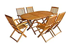 Mcombo 7-piece Fold Chair and Store Table Set Mcombo Wood Outdoor Bistro Furniture Acacia