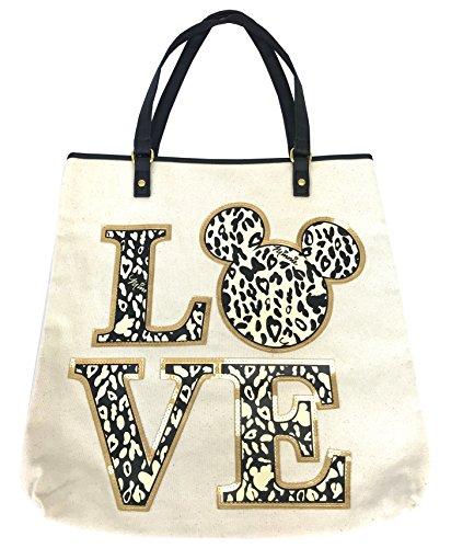 Handbag Print Tote Animal (Disney Parks Shanghai Resort Minnie Mouse LOVE Animal Print Tote Bag Handbag)