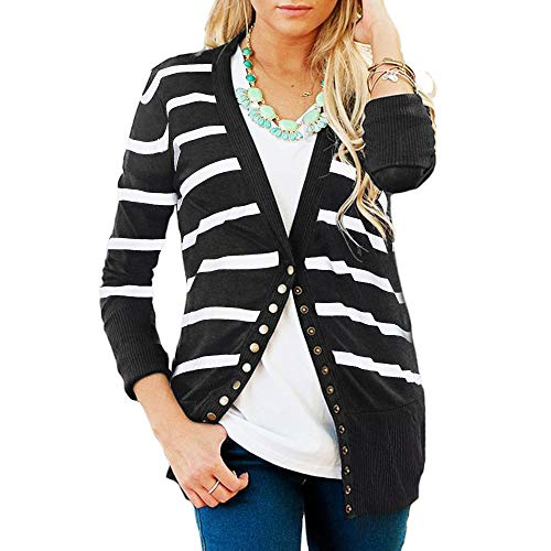 Faatoop Women's V-Neck Button Down Knitwear Long Sleeve Striped Soft Basic Knit Snap Cardigan Sweater (Black, L)