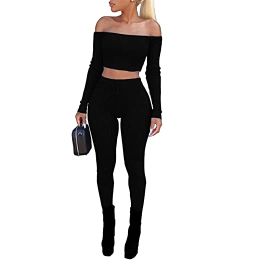 25fd6de5c3a7 Women's Sexy 2 Piece Outfits Long Sleeve Ribbed Bodycon Off Shoulder Crop  Tops and Skinny Pants