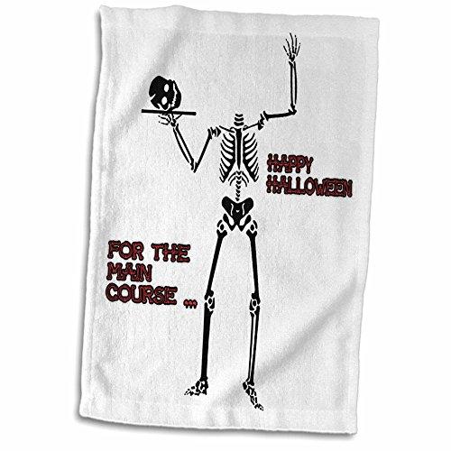 3dRose Sandy Mertens Halloween Designs - Skeleton Head for Main Course - 12x18 Hand Towel (Halloween Main Course Dishes)