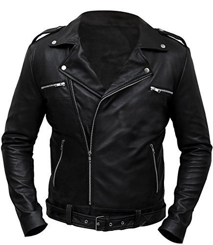 CHICAGO-FASHIONS Negan Jacket Walking Dead S7 Jeffrey Dean Morgan Black Biker Leather Jacket