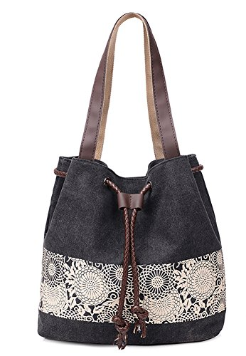 Trendy Canvas Tote Handbag Shoulder Bags for Women (Black) - 9